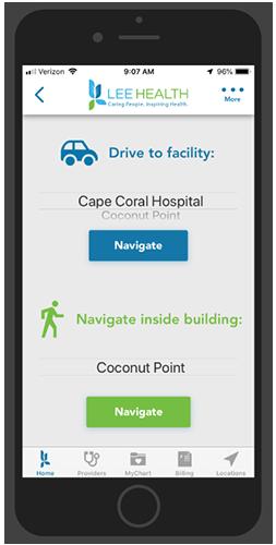 Lee Health Hospital App -Outdoor and Indoor Directions