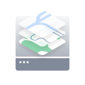Layered outdoor map representing outdoor mapping platform icon